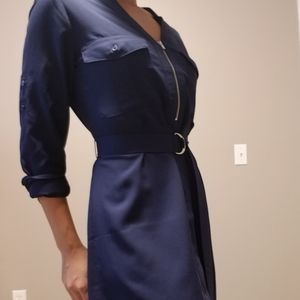 Navy blue long sleeve utility dress